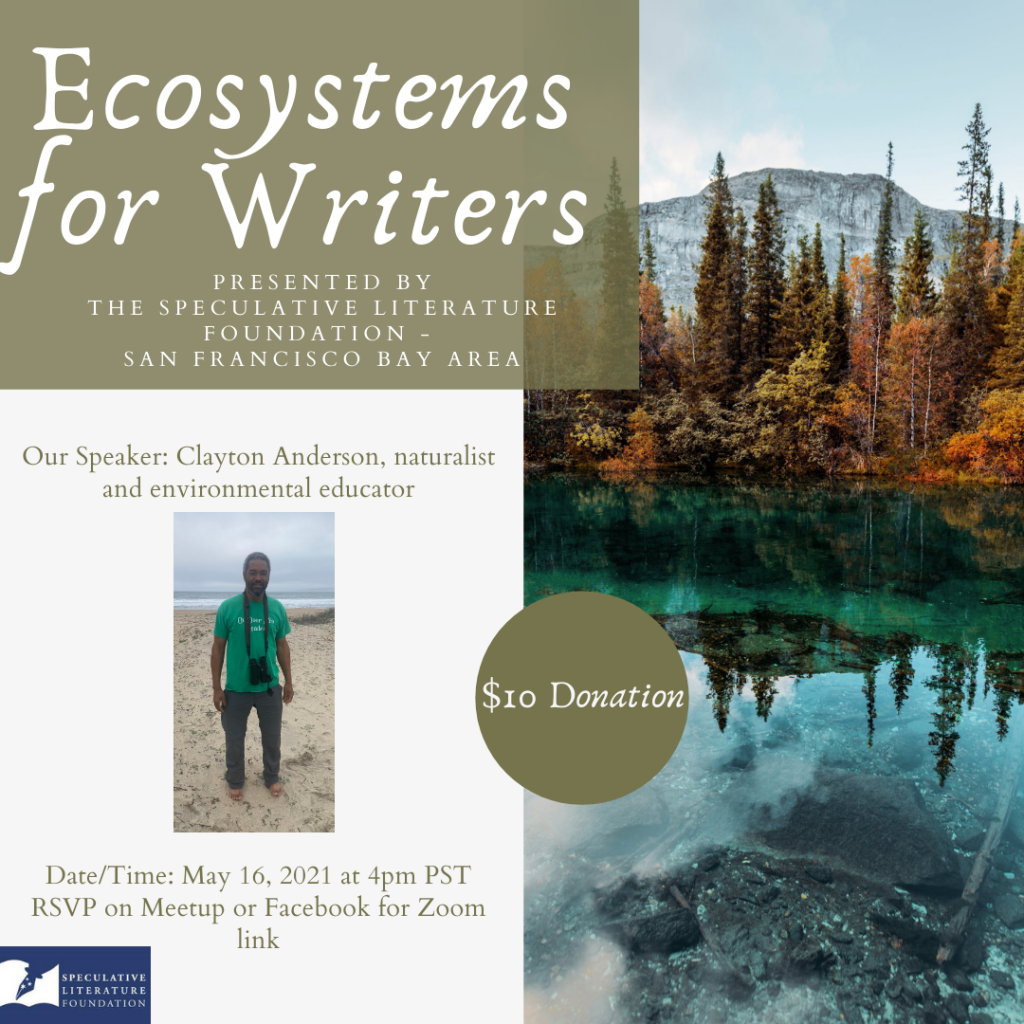 Graphic to promote Ecosystems for Writers, with an image of a mountainous lake and a headshot of Clayton Anderson.